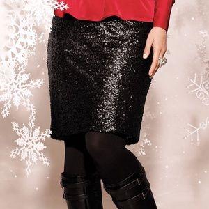 Lane Bryant Black Sequin Midi Skirt 26/28